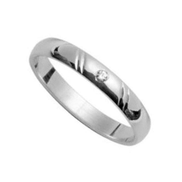 Expédition Bas À Vendre qualité Bague alliance anneau joaillerie stries obliques diagonale 3 mm diamant blanc argent 925 couleur unique So Chic Bijoux   La Redoute WLZR7q