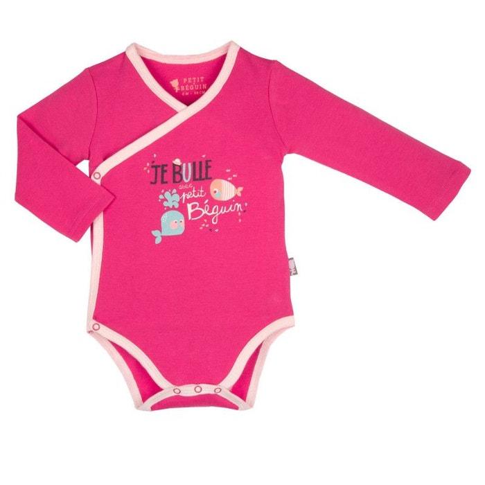 564ce44d801f8 Body croisé bébé fille manches longues petit poisson rose Petit Beguin