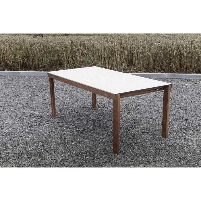 Table de jardin desa rectangulaire en ipé et plateau hpl blanc egoe ...