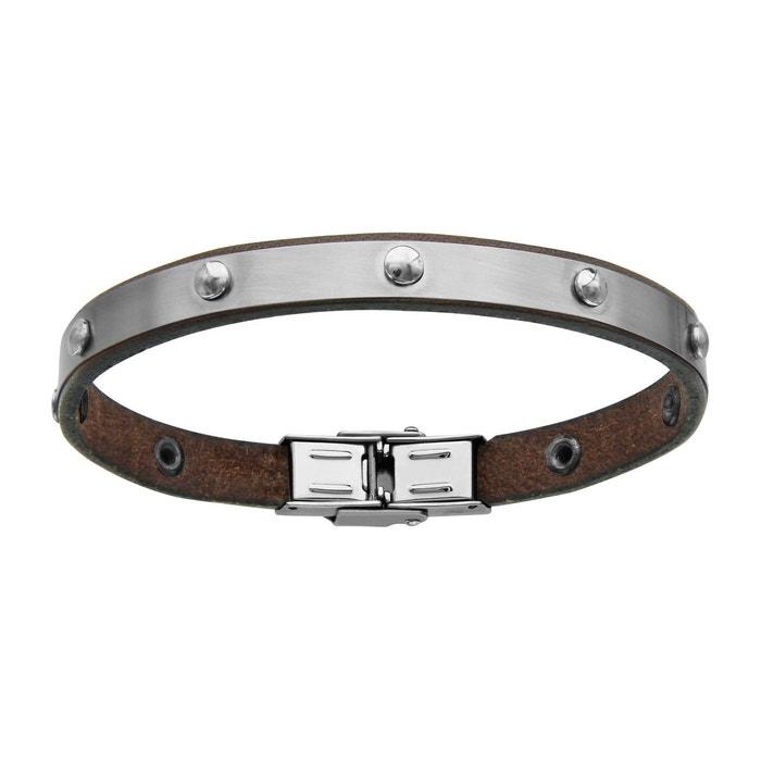 Bracelet 20 cm cuir marron boules acier inoxydable couleur unique So Chic Bijoux | La Redoute