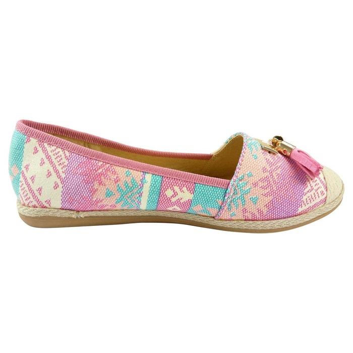 Ballerines espadrilles chaussures femme, multicolore à pompons rose Chaussmaro