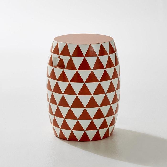 Tabouret rond de jardin, motifs triangles, fibre d