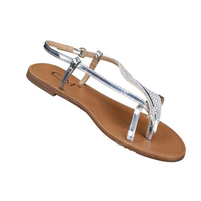 Sandales à détail plume gris Leader Mode ...