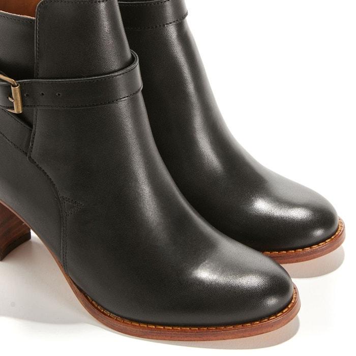 Boots à talon en cuir capucine noir Anthology Paris