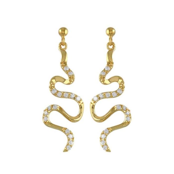 Boucles d'oreilles femme serpentin oxyde de zirconium blanc plaqué or 750 couleur unique So Chic Bijoux   La Redoute