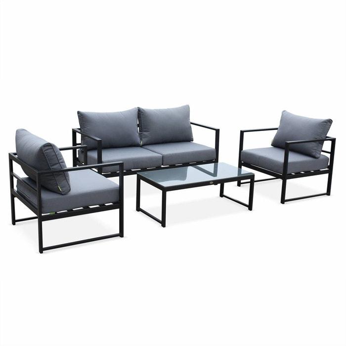 Salon de jardin 4 places bal a anthracite et gris 4 l ments en aluminium coussins pais for Salon de jardin la redoute