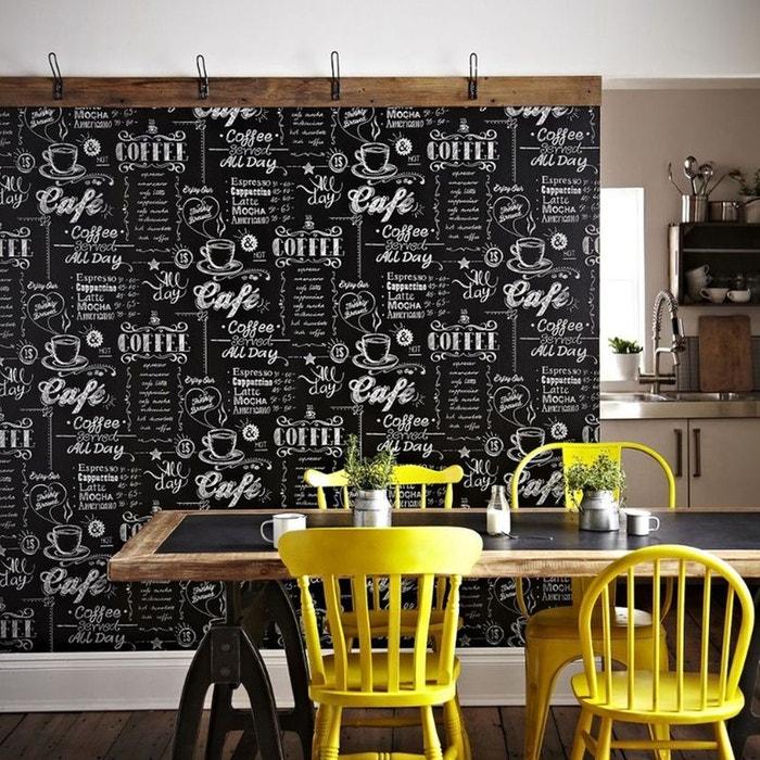 papier peint support intiss coffee shop noir blanc black. Black Bedroom Furniture Sets. Home Design Ideas