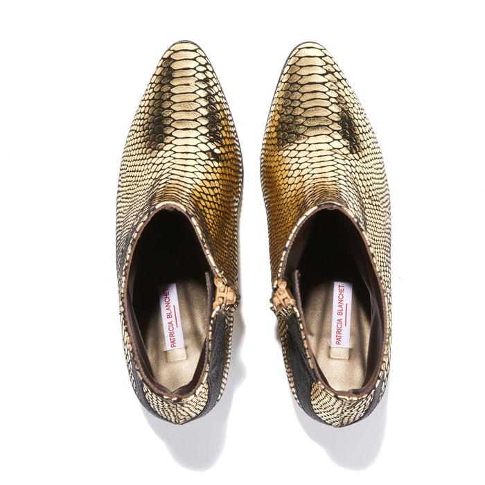 Blanchet Brand Boots Cuir noir Or Patricia Exclusivité Boutique qwXErXPx