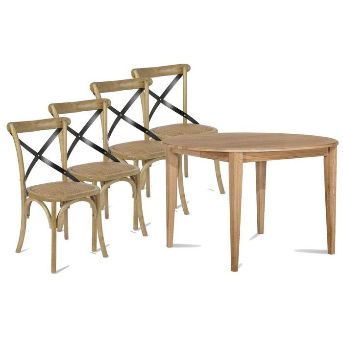 Ensemble Table Ronde Pieds Fuseau 115 4 Chaises Bistrot Bois
