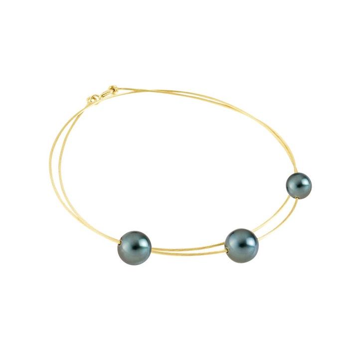 Collier 3 véritables perles de tahiti 9 explorer 3smXQZWf