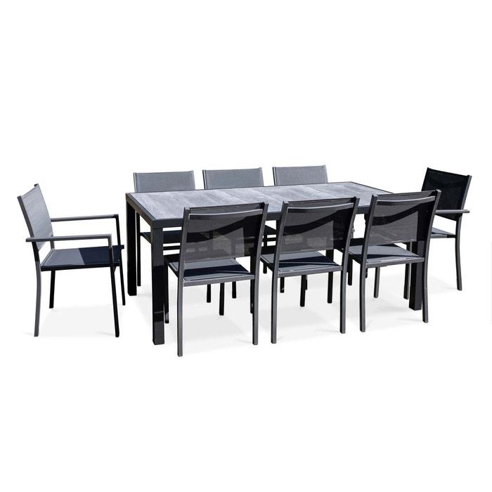 Salon de jardin aluminium et céramique, 1 table, 6 chaises, 2 fauteuils