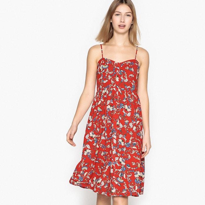 robe courte fines bretelles imprim e fleurs rouge imprim see u soon la redoute. Black Bedroom Furniture Sets. Home Design Ideas