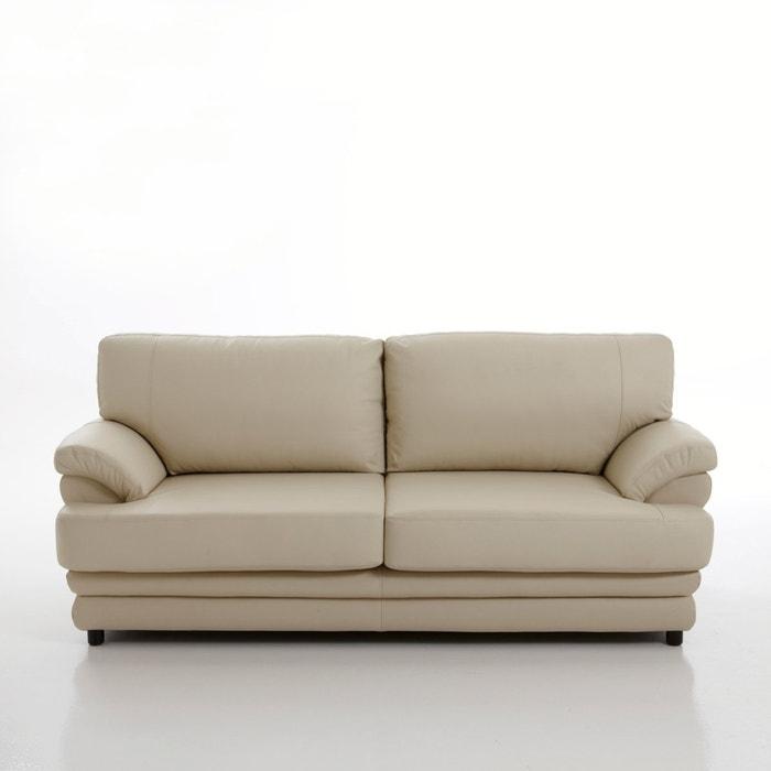 afbeelding 2- of 3-zit canapé, vast model, uitstekend comfort, echt leer, Newcastle La Redoute Interieurs