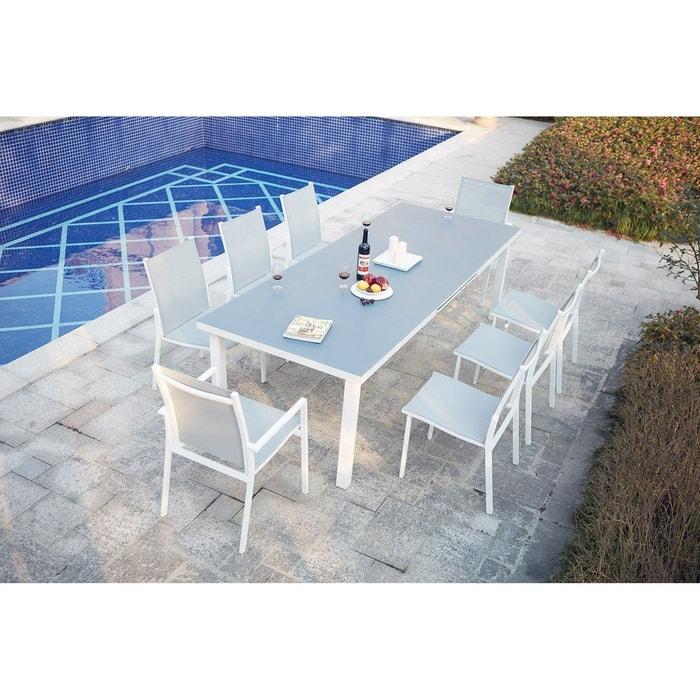 Moniga 8 : table de jardin extensible 8 personnes avec 2 fauteuils ...