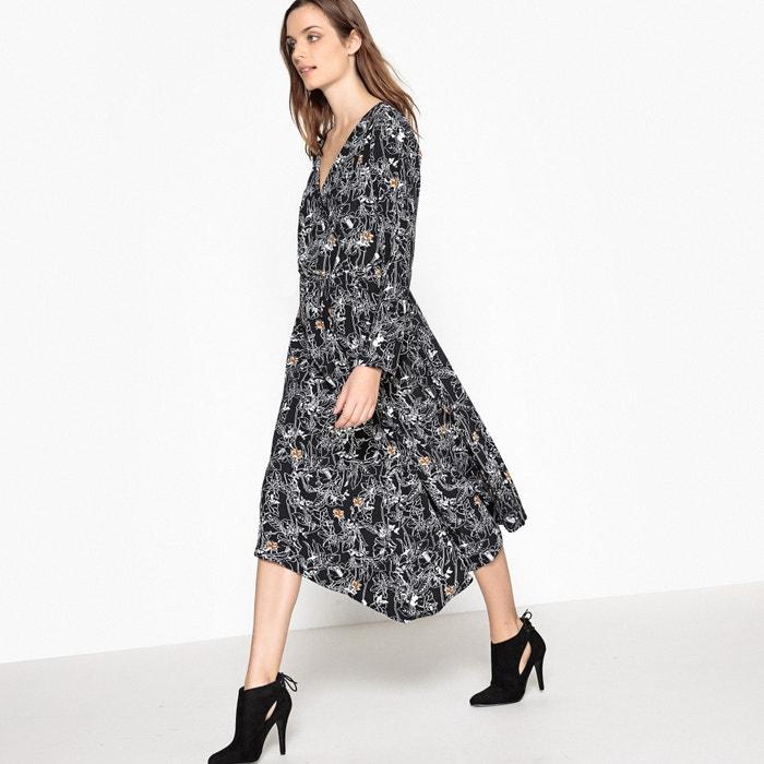 Vestido evasé, amplo, estampado, comprimento pelos joelhos  La Redoute Collections image 0