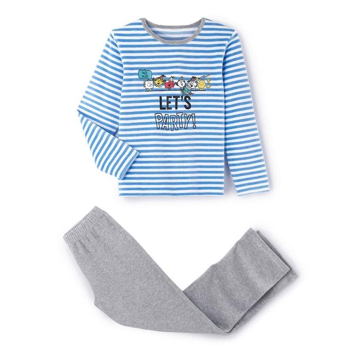 15e7209928d03 Pyjama à motif imprimé manches longues 2 - 10 ans bleu gris Monsieur Madame