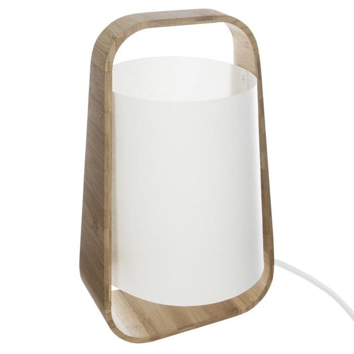 lampe bambou abat jour plastique h35 blanc atmosphera. Black Bedroom Furniture Sets. Home Design Ideas