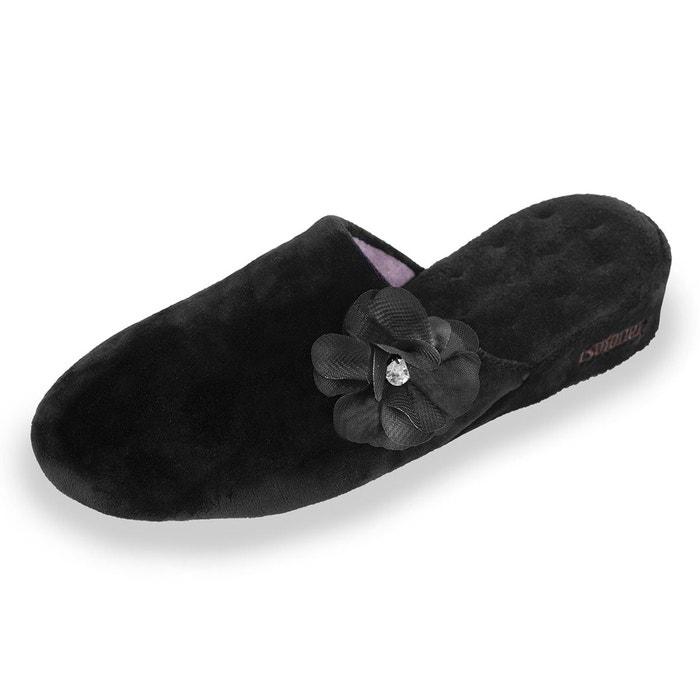 Chaussons mules femme noir Isotoner