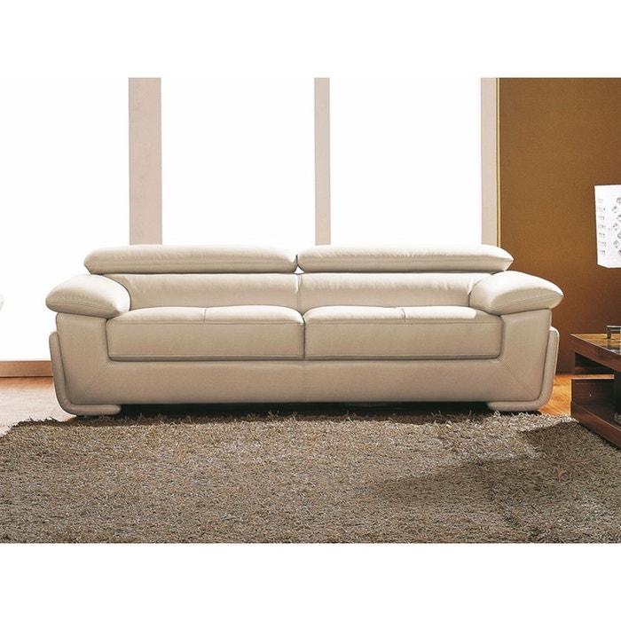 canap cuir 3 places sena beige la maison du canape la redoute. Black Bedroom Furniture Sets. Home Design Ideas