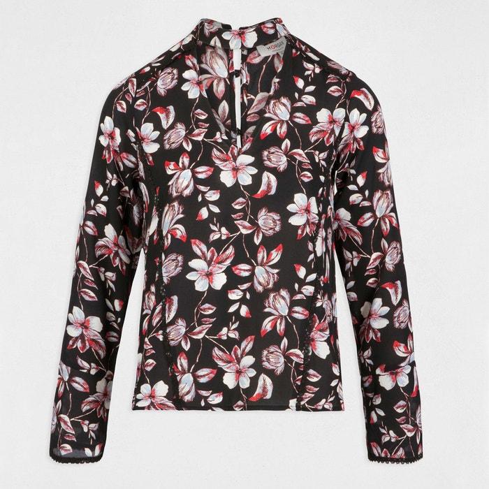 floral MORGAN alto estampado Blusa cuello qqrA47ExB