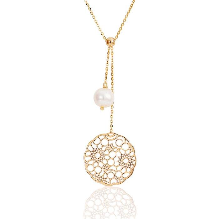 Collier or 375/1000 perle blanc Cleor   La Redoute Point De Vente vU0cs74