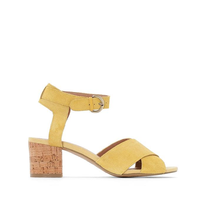 Image Sandale à talon liège, croûte de cuir CASTALUNA