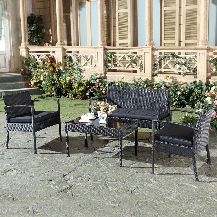Salon de jardin résine tressée, téos noir Concept Usine | La Redoute