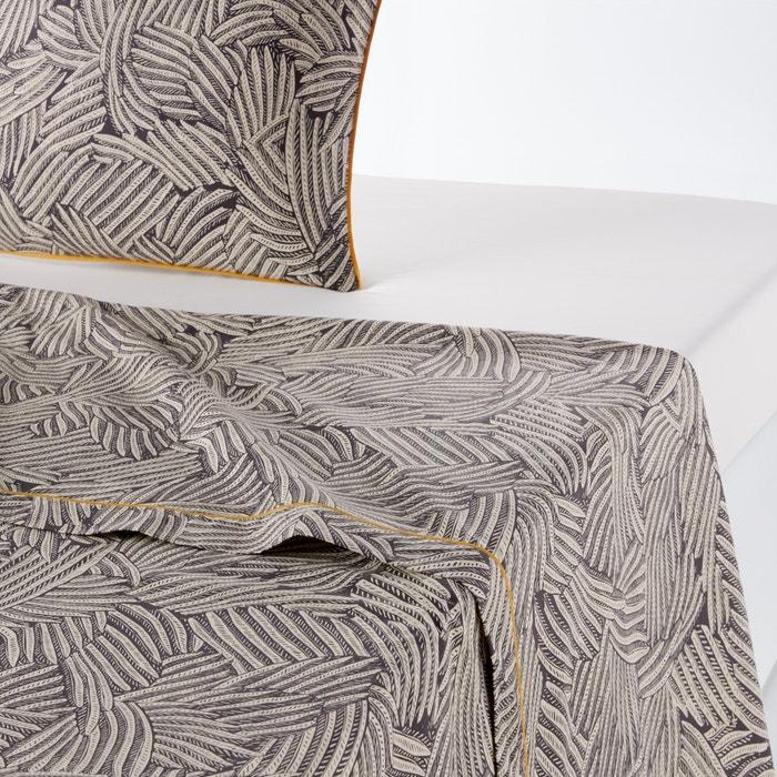 drap plat imprim mistral carbone blanc la redoute interieurs la redoute. Black Bedroom Furniture Sets. Home Design Ideas