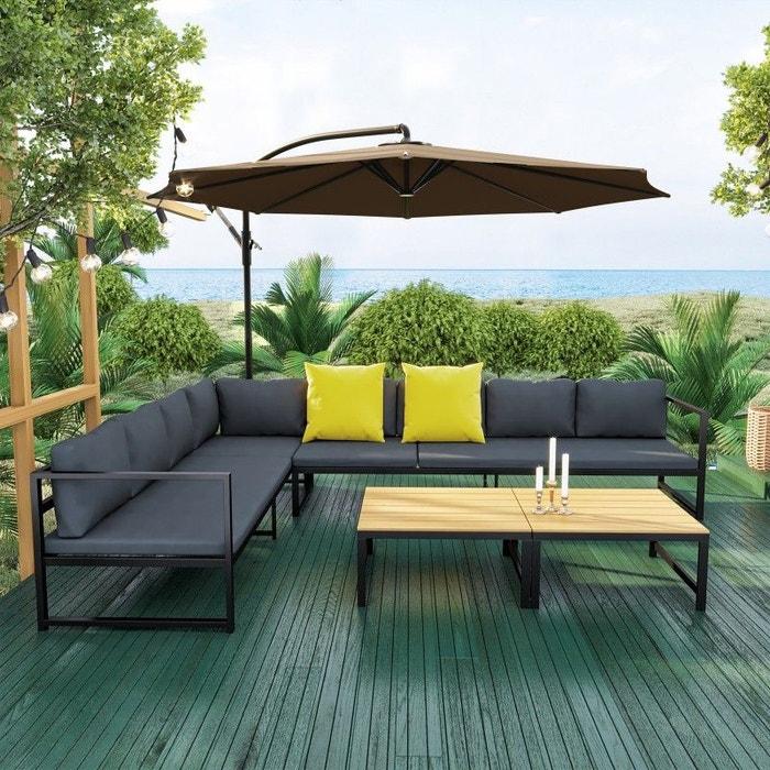 Salon de jardin aluminium, convertible et modulable, anthracite ...