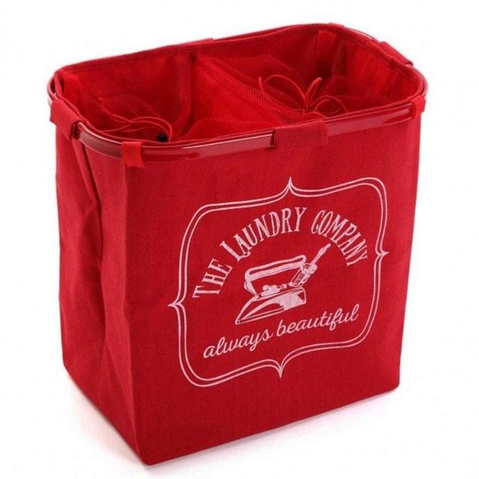 panier linge avec 2 compartiments rouge multicolore. Black Bedroom Furniture Sets. Home Design Ideas