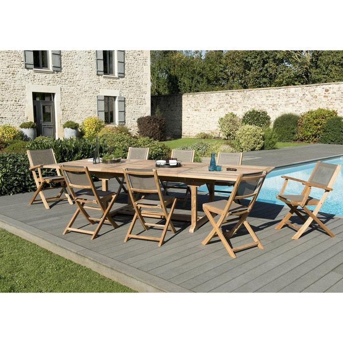 Salon de jardin teck table extensible 200/300 + 6 chaises pliantes 2 ...