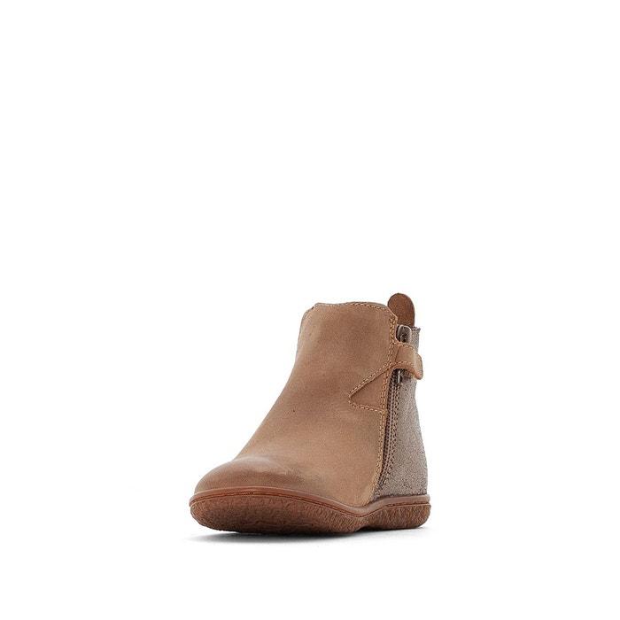 Boots cuir vermillon marron clair Kickers   La Redoute 889817db78b9
