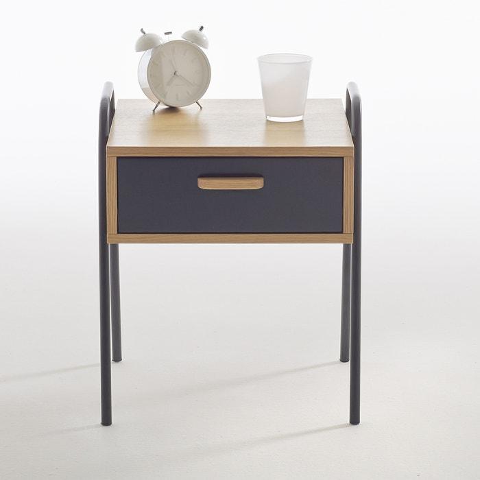chevet m tal et bois quilda la redoute interieurs noir bois la redoute. Black Bedroom Furniture Sets. Home Design Ideas