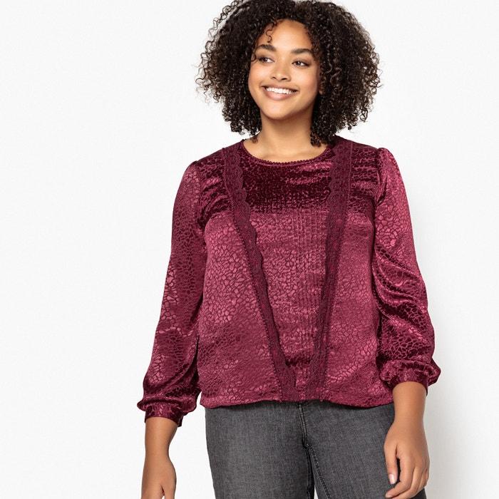72a605b9be257 Ruffled laced animal print jacquard blouse plum Castaluna Plus Size ...