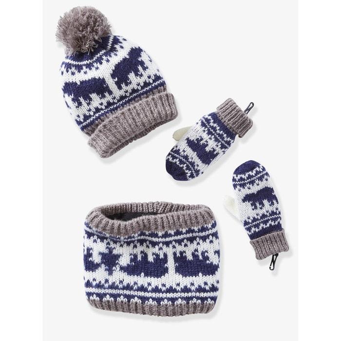 70bf525ebef Bonnet garçon + snood + moufles ou gants jacquard bleu foncé imprimé  Vertbaudet