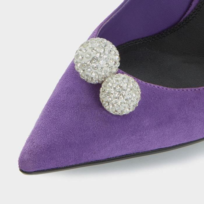 Black sand - escarpins ornés de sphères - buckinghamm purple daim Dune London