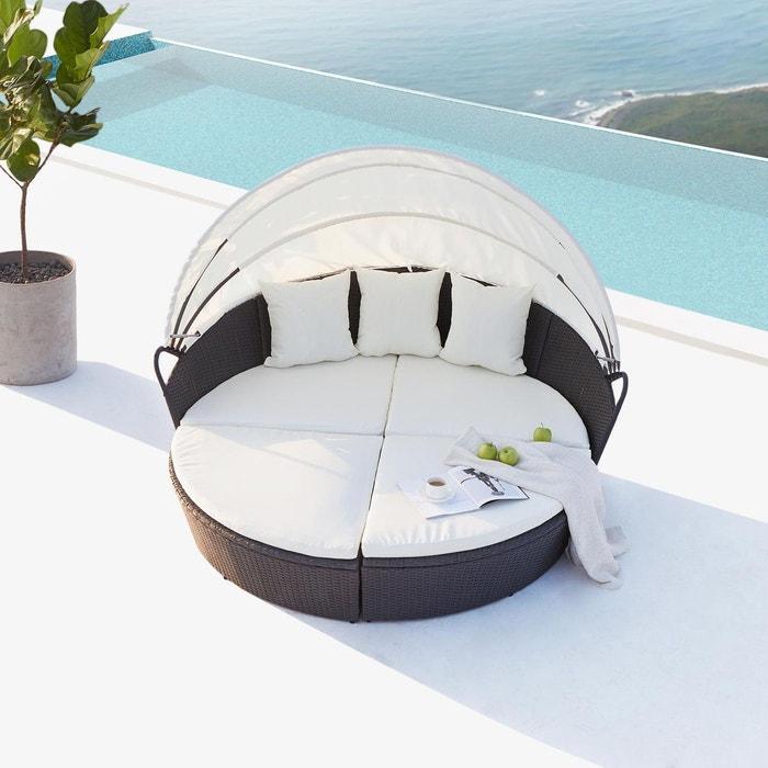 Salon de jardin résine tressée 6/8 places, cocoon noir coussin blanc ...