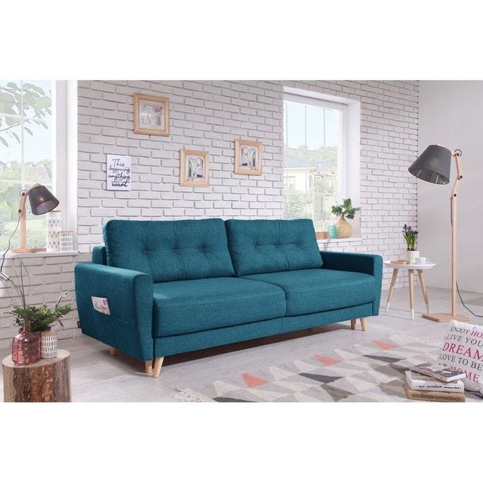 canap 3 places convertible avec coffre bleu canard lux 30. Black Bedroom Furniture Sets. Home Design Ideas