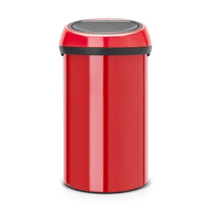 poubelle brabantia touch bin 60 l rouge brabantia la redoute. Black Bedroom Furniture Sets. Home Design Ideas