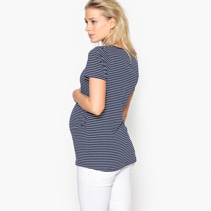 Collections embarazo en cintura rayas para Redoute Camiseta plisada a la La 8qYwA5xan