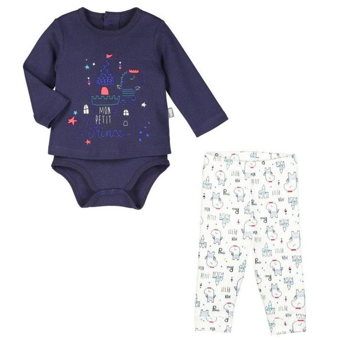 831649d9f84f2 Ensemble bébé garçon body t-shirt + pantalon petit prince bleu Petit Beguin