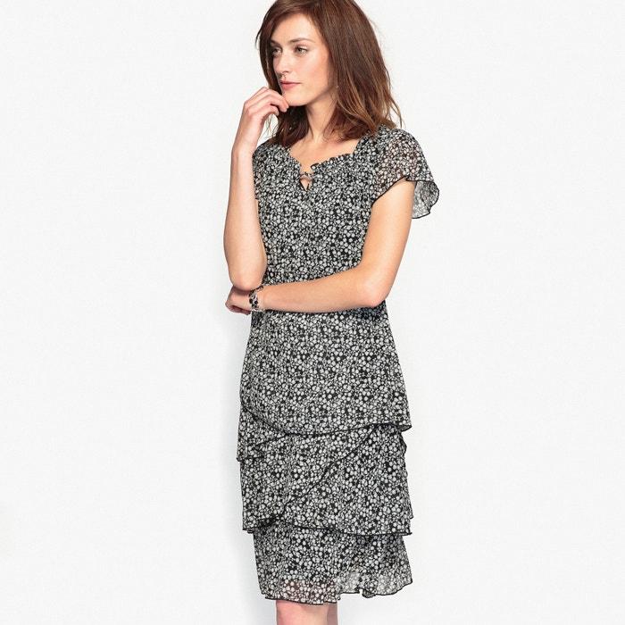 afbeelding Bedrukte jurk, gekreukte crêpe ANNE WEYBURN