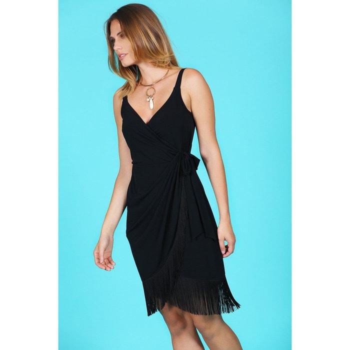 Robe Portefeuille Noire Cache Coeur Et Franges Charleston Noir Bleu D Azur La Redoute