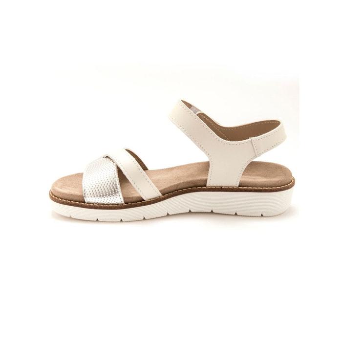 Sandales à aérosemelle® amovible blanc bicolore Pediconfort