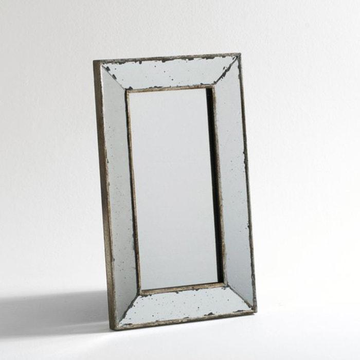 Miroir vieilli moyen mod le l31 x h51 cm edwin gris for Miroir gris argent