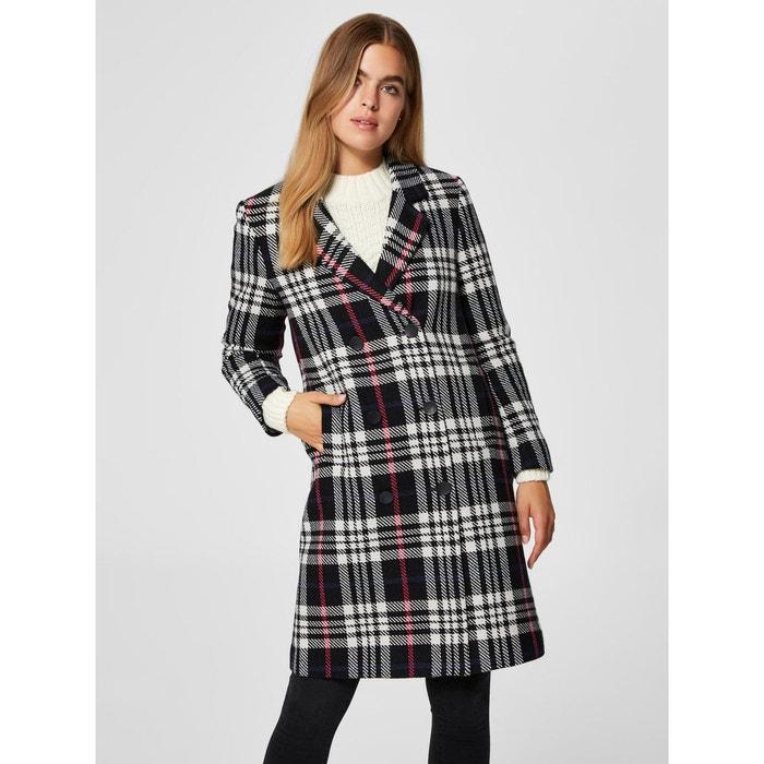Manteau croisé à carreaux en laine mélangée ecru   noir Selected Femme   La  Redoute efc508c14dca