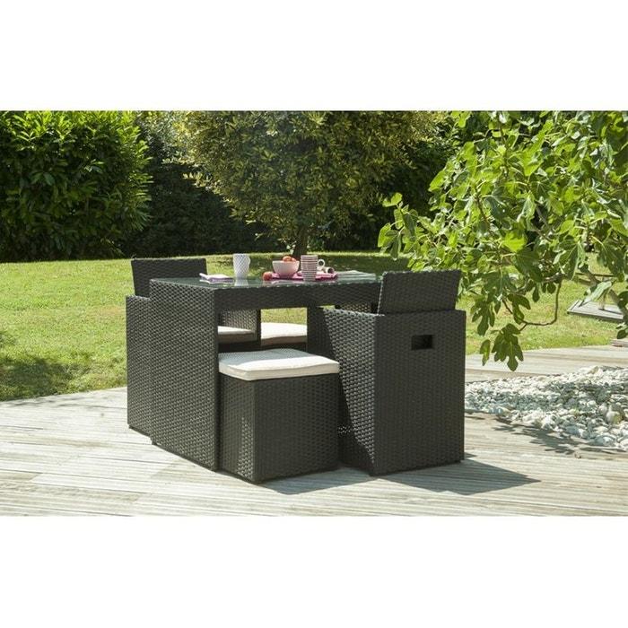 Salon de jardin 2 places en r sine tress e noire noir le - La redoute table de jardin en resine tressee ...