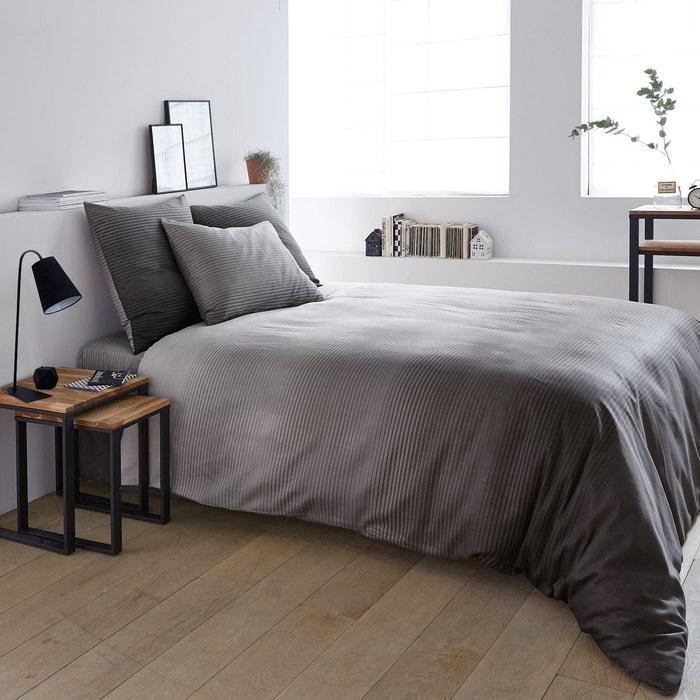 drap housse en satin de coton rayados la redoute interieurs la redoute. Black Bedroom Furniture Sets. Home Design Ideas