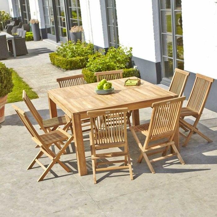 Salon de jardin en bois de teck 8 places