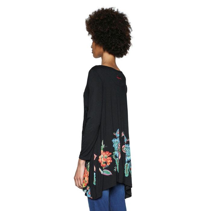 manga con DESIGUAL de Camiseta y flores cuello redondo estampado larga de 1qZPwqUzx